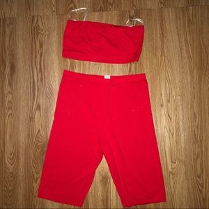 Red biker short set